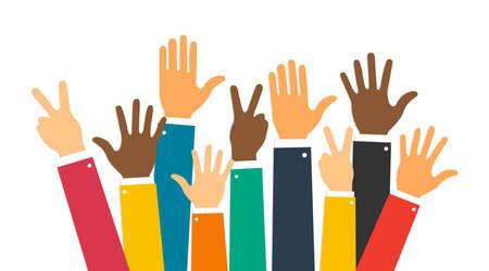 Raise hands. Hand gesturing. Arms raised. Volunteering. Voting. Vector illustration. EPS 10