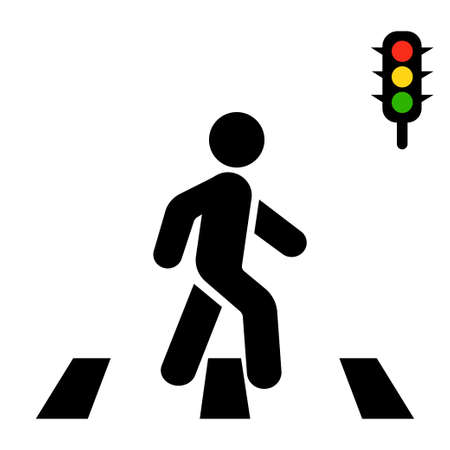Crosswalk, pedestrian and traffic lights on a white background.