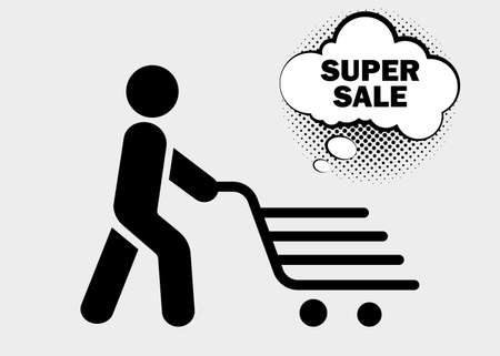 Online shopping and delivery. Shopping trolley, cart on white background. Super sale text. Simple black symbols. Vector illustration. EPS 10