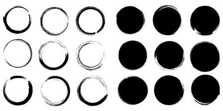 Collection of paintbrushes. Brush stroke, ink brush, brush, line, frame, box, grungy. White background. Vector illustration. EPS 10
