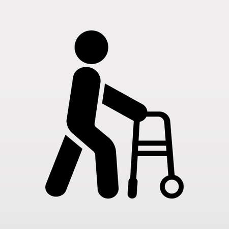 Person with disabilities and physical injury symbols. Wheelchair sign. Vector illustration