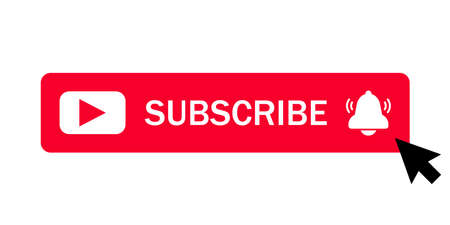 Subscribe button icon with arrow cursor. Business concept pictogram.