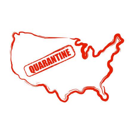 Coronavirus COVID-19 in USA. 2019-nCoV. Pandemic. Virus quarantine in USA. Stop sign.