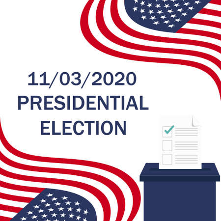 United States Presidential Election. November 3, 2020. American flag. Voting. Ballot box. Candidate elections. Vector illustration. EPS 10