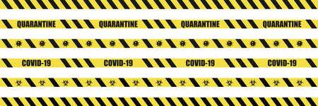 Coronavirus warning sign. Covid-19 warning stripes. Quarantine biohazard symbol. Yellow and black stripes tape. Global epidemic.