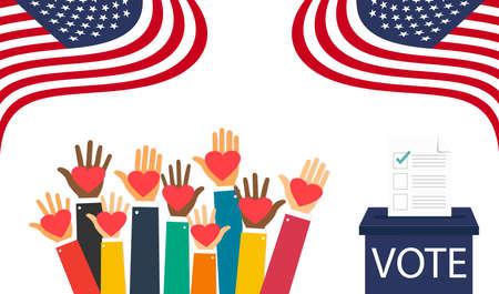 United States Presidential Election. November 3, 2020. American flag. Voting. Ballot box. Ilustração