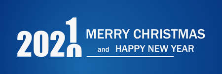Merry Christmas and Happy New Year. 2021. Blue background. Vector illustration Ilustração