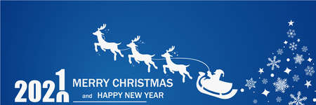 Merry Christmas and Happy New Year. 2021. Blue background.