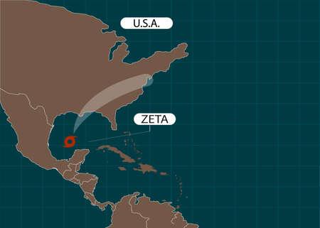 Hurricane Zeta moves into the USA. Tropical Storm Zeta racing into Louisiana. World map.