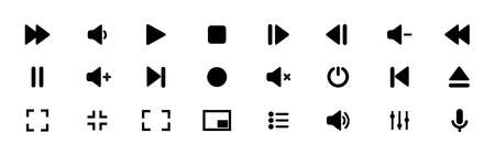 Collection of multimedia symbols and audio, music speaker volume icons. Vector illustration. EPS 10