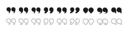 Quotation mark symbol. White color buttons. Ilustração