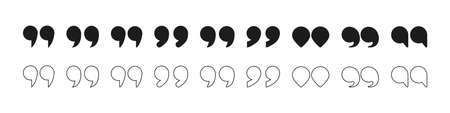 Quotation mark symbol. White color buttons. Illustration