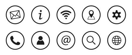 Collection of Business symbols. Contact us signs. Location and contact icons. Simple symbols. Vector illustration.