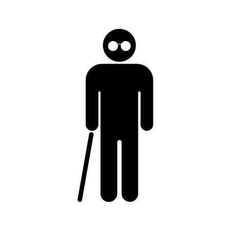 Blind people. Senior man with walking cane. Vector illustration. EPS 10