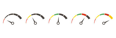 Speedometer, tachometer, indicator icons. Performance measurement. White background. Vector illustration. EPS 10