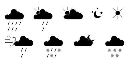 Cloud, rain and sun signs. Sky symbols. White background. Vector illustration. EPS 10 矢量图像