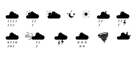 Cloud, rain and sun signs. Sky symbols. White background. Vector illustration. EPS 10 矢量图像