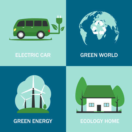 Eco electric car. Electric car, nature and clear ecology concept. Public power station. Electric transport. Fast charge a car with electricity. Vector illustration. EPS 10 矢量图像