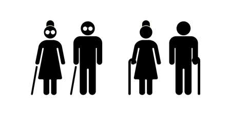 Blind people. Senior couple with walking cane. Senior men and women. Vector illustration. EPS 10