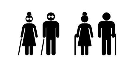 Blind people. Senior couple with walking cane. Senior men and women. Vector illustration. EPS 10