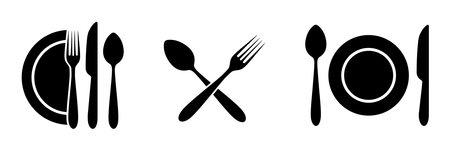 Cutlery set. Fork, spoon, knife. Realistic tableware. Kitchen utensil. Flat style. Vector illustration. EPS 10
