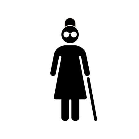 Blind people. Senior woman with walking cane. Vector illustration. EPS 10