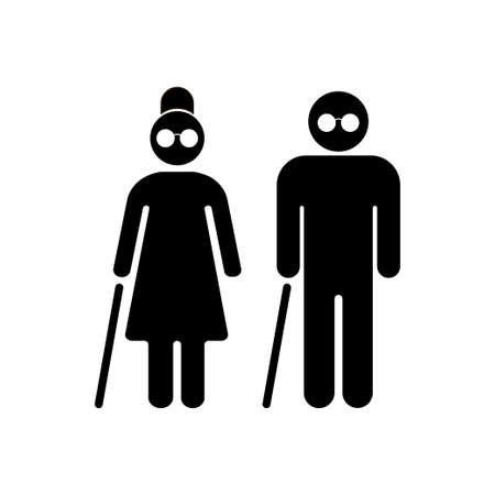 Blind people. Senior couple with walking cane. Senior men and women.