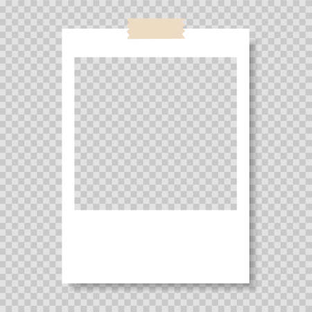 Photo frame. Frame-border template with adhesive tape. Gray background. 矢量图像