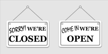 Placard with open and closed signs. Forbidden and welcome signboards.