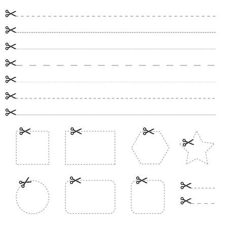 Scissors with cut lines icon on white background. Mark of scissors cut paper coupon. Vector illustration. EPS 10 矢量图像