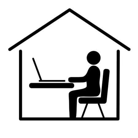 Working at home. Office home. Freelance worker. Black and White style.