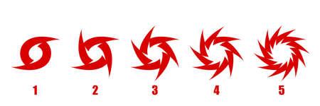 Whirlwind sign. Tornado. Hurricane. Hurricane - storm. 5 categories of hurricanes. White background. Vector illustration