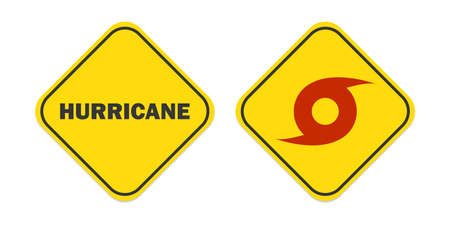 Whirlwind sign. Tornado. Hurricane. Hurricane - storm. Yellow signs. White background. Vector illustration. EPS 10
