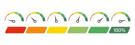 Speedometer, tachometer, indicator icons. Performance measurement. White background. Vector illustration. EPS 10