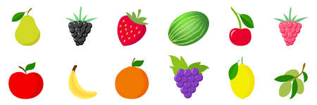 Collection of fruits and cherries. White background. Vector illustration.