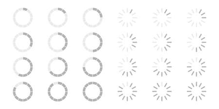 Collection of loading progress bars. Circle shape. White background. Vector illustration. EPS 10 Vettoriali