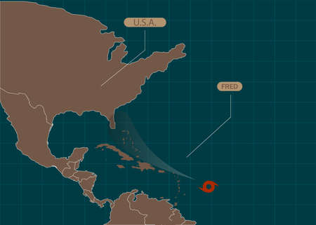 Hurricane Fred moves into the USA. World map. Vector illustration. EPS 10 Vettoriali