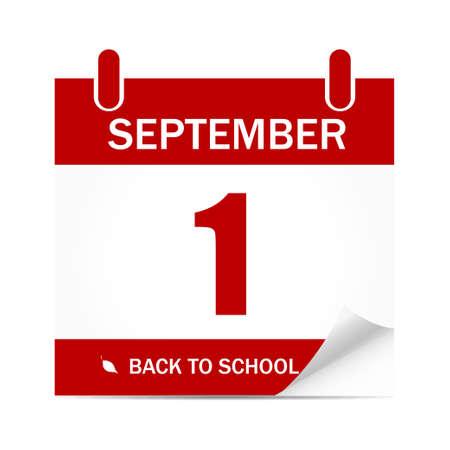 Back to school. Education. 1st September. Autumn. Calendar. Vector illustration. EPS 10 Vettoriali