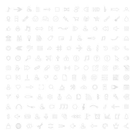 Collection of Business, arrow, multimedia symbols. Vector illustration. Vettoriali