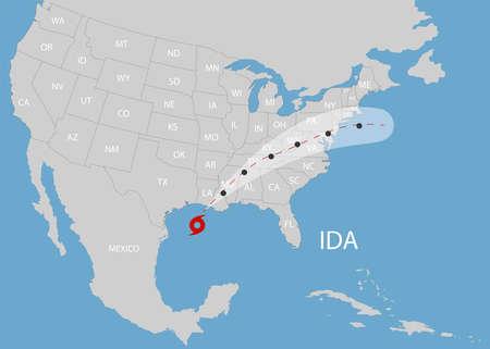 Hurricane IDA moves into the USA. World map. Vector illustration.