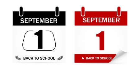 Back to school. Education. 1st September. Autumn. Calendar. Vector illustration.