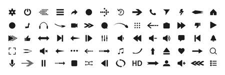 Collection of multimedia symbols and audio, music speaker volume icons. Flat style icon on gray background. Vector illustration