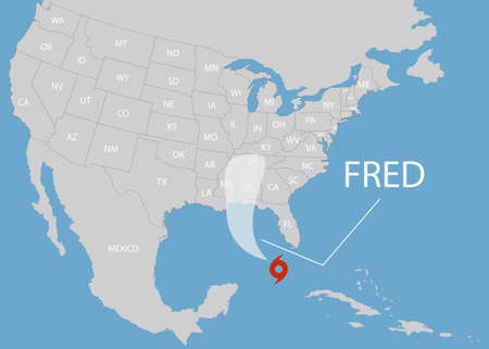 Hurricane Fred moves into the USA. World map. Vector illustration.