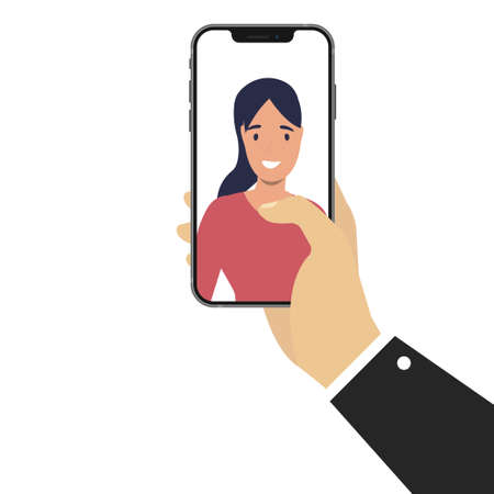 Hand holding smart phone with women silhouette on display. Flat design. Vector illustration