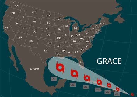 Hurricane Grace moves into the USA. World map. Vector illustration.