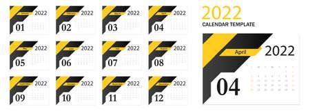 Calendar 2022. Tear-off calendar. Personal organizer. White background. Vettoriali