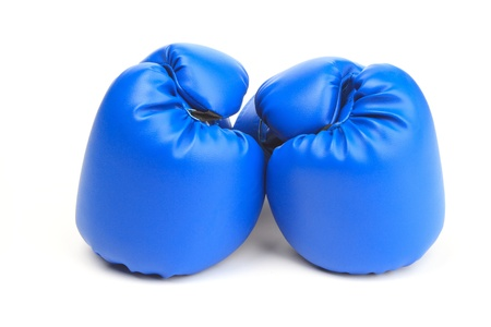 A pair of blue boxing gloves on white background Stock Photo - 13427647