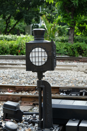 traffic light signal at the railway Stock Photo