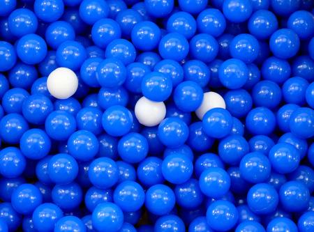 pellet gun: many blue balls used for an airgun Stock Photo
