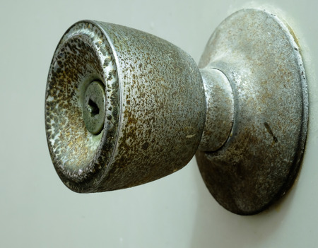 door handle: Silver door handle old door Stock Photo
